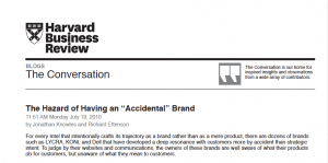 T2C HBR Article: Accidental Brand
